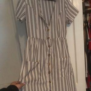 stripped mid dress